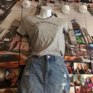 los angeles tee and hollister jean skirt